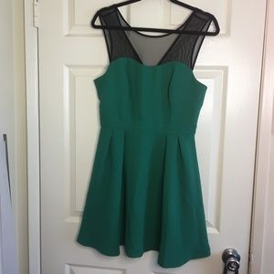Emerald Green & Black Mesh - BCBGeneration Dress